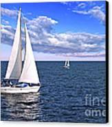 Sailboats At Sea Canvas Print