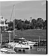 Sailboats Docked At North Myrtle Beach Mono Canvas Print by John Rizzuto