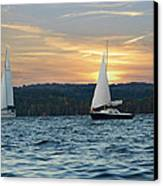 Sailing At Sunset Canvas Print by Steven Michael