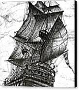 Sailing Drawing Pen And Ink In Black And White Canvas Print by Mario Perez