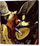 Saint Cecilia And The Angel Canvas Print by Carlo Saraceni