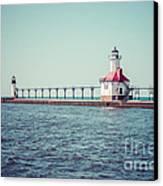 Saint Joseph Michigan Lighthouse Retro Picture  Canvas Print by Paul Velgos