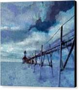 Saint Joseph Pier Lighthouse In Winter Canvas Print by Dan Sproul