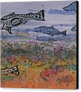 Salmon In The Stream Canvas Print by Carolyn Doe
