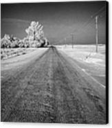 salt and grit covered rural small road in Forget Saskatchewan Canada Canvas Print