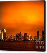 San Diego Cityscape At Night Canvas Print by Paul Velgos