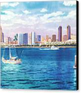 San Diego Skyline And Convention Ctr Canvas Print by Mary Helmreich