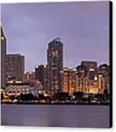 San Diego Skyline At Dusk Panoramic Canvas Print by Adam Romanowicz