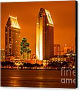 San Diego Skyline At Night Along San Diego Bay Canvas Print by Paul Velgos