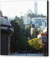 San Francisco Coit Tower At Levis Plaza 5d26212 Canvas Print by Wingsdomain Art and Photography