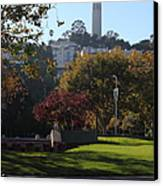 San Francisco Coit Tower At Levis Plaza 5d26217 Canvas Print by Wingsdomain Art and Photography