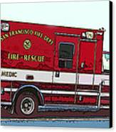 San Francisco Fire Dept. Medic Vehicle Canvas Print by Samuel Sheats