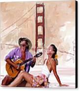 San Francisco Guitar Man Canvas Print