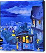 San Francisco Night Trams Canvas Print by Yury Malkov