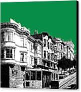 San Francisco Skyline Cable Car 2 - Forest Green Canvas Print