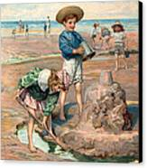 Sand Castles At The Beach Canvas Print by Unknown