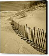 Sand Dunes And Fence Canvas Print