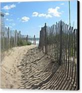 Sand Fence At Southern Shores  Canvas Print by Cathy Lindsey
