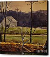 Sandhill Cranes Over The Eel Canvas Print by Charlie Spear