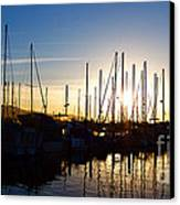 Santa Barbara Harbor With Yachts Boats At Sunrise In Silhouette Canvas Print by ELITE IMAGE photography By Chad McDermott