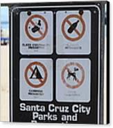 Santa Cruz Beach Sign At The Santa Cruz Beach Boardwalk California 5d23840 Canvas Print by Wingsdomain Art and Photography
