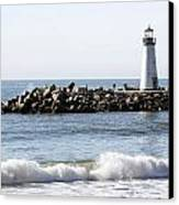Santa Cruz Lighthouse Wave Wide Canvas Print by Barbara Snyder