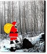 Santa In Christmas Woodlands Canvas Print