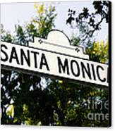 Santa Monica Blvd Street Sign In Beverly Hills Canvas Print by Paul Velgos