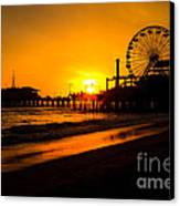 Santa Monica Pier California Sunset Photo Canvas Print by Paul Velgos