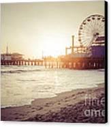 Santa Monica Pier Retro Sunset Picture Canvas Print