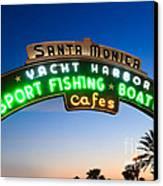 Santa Monica Pier Sign Canvas Print by Paul Velgos