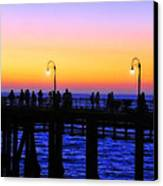 Santa Monica Pier Sunset Silhouettes Canvas Print