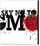 Say No To Gmo Graffiti Print With Tomato And Typography Canvas Print