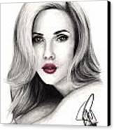 Scarlett Johansson Canvas Print by Rosalinda Markle