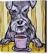 Schnauzer At The Coffee Shop Canvas Print by Jay  Schmetz