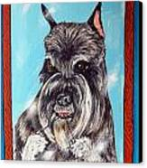 Schnauzer Flossing Canvas Print by Jay  Schmetz