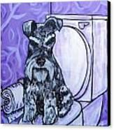 Schnauzer In The Bathroom Canvas Print by Jay  Schmetz