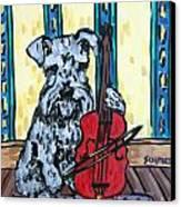 Schnauzer Playing Cello Canvas Print by Jay  Schmetz