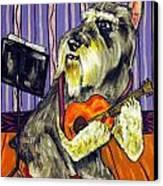 Schnauzer Playing Guitar Canvas Print by Jay  Schmetz