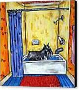 Schnauzer Taking A Bath Canvas Print by Jay  Schmetz