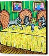 Schnauzers Tea Party Canvas Print by Jay  Schmetz