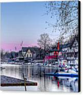 Schuylkill River And Boathouse Row Philadelphia Canvas Print by Bill Cannon