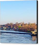 Schuylkill River At Boathouse Row And  The Fairmount Waterworks Canvas Print by Bill Cannon