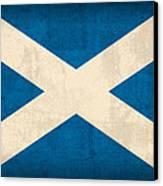 Scotland Flag Vintage Distressed Finish Canvas Print by Design Turnpike