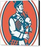 Scotsman Scottish Bagpipes Retro Canvas Print