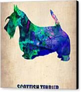 Scottish Terrier Poster Canvas Print by Naxart Studio