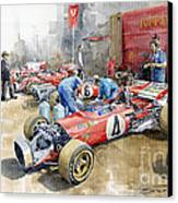 Scuderia Ferrari Paddock Spanish Gp 1971 Ferrari 312b2  Canvas Print by Yuriy Shevchuk