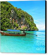 Sea Beautiful And Mountains Canvas Print by Boon Mee