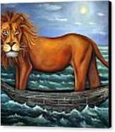 Sea Lion Bolder Image Canvas Print by Leah Saulnier The Painting Maniac