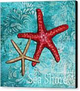 Sea Shore Original Coastal Painting Colorful Starfish Art By Megan Duncanson Canvas Print by Megan Duncanson